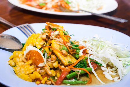 mincing: Corn salad from Restaurants in Thailand Stock Photo