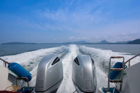 speedboats: Speedboats are playing in the sea Stock Photo