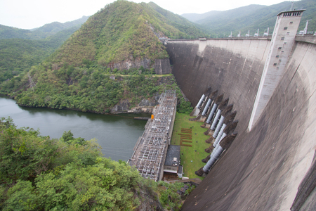 The power station at the Bhumibol Dam in Thailand. The dam is situated on the Ping River for electricity