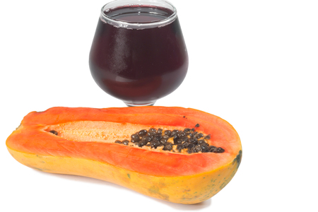 radicals: Papaya with Glass of juice isolate on white