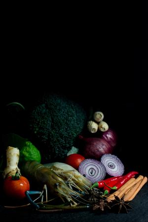Shrimp with vegetables Before cooking on Black background