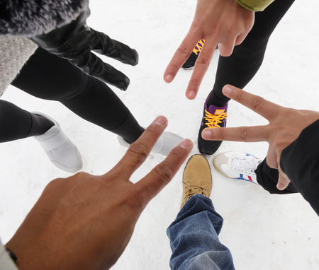 Travelers  are rock paper scissors cover Snow in Europe