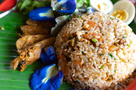 Delicious fried rice and  unspoilt with chili and Vegetable