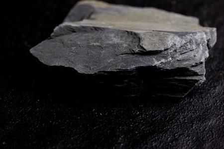 Slate Rock isolate on black background 스톡 콘텐츠