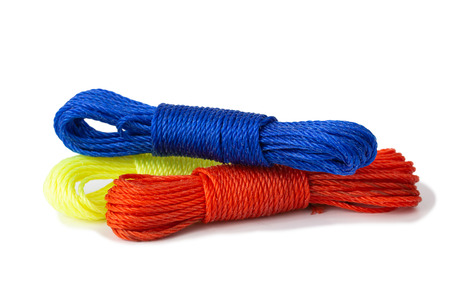 Red and blue Nylon rope isolate on white background