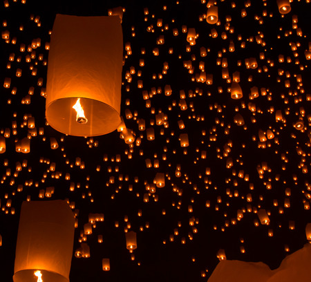 Sky lanterns, flying lanterns, hot-air balloons in Loy Krathong Festival in Chiang Mai Thailand