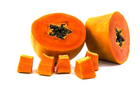 Sweet papaya fruit cut half isolate on white 免版税图像