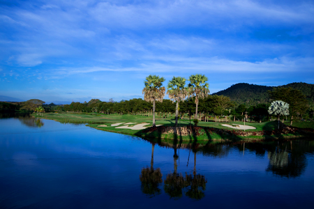 View of the golf course with Beautiful reservoir 写真素材 - 114932924