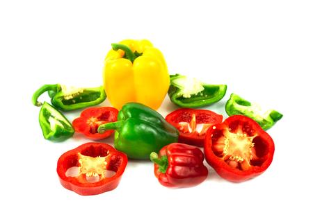 Fresh Colorful Bell pepper Half cut isolate on white Standard-Bild - 114932993
