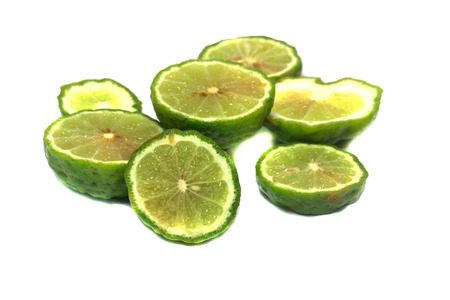 Bergamot or Kaffir lime Cut half isolate on black background