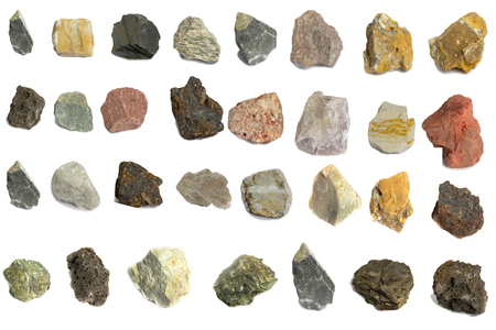 Various stone for industry isolate on white background Stock Photo