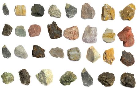 Verschiedene Steine für die Industrie auf weißem Hintergrund isolieren Standard-Bild