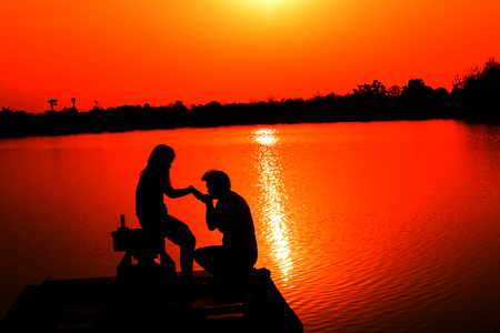 Lovers are Sweet at reservoir and View Reservoir In the evening and Sunset