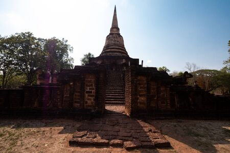 Ancient ruins of Ancient City In Sukhothai Over 700 years old Stock Photo