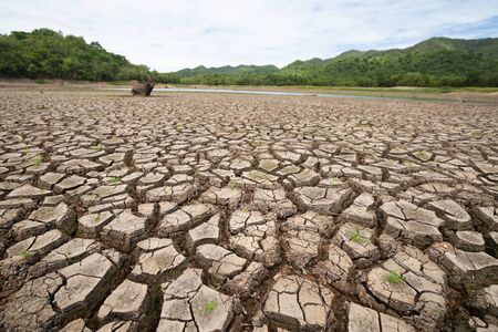 Land with dry and cracked ground because dryness global warming,Global warming background