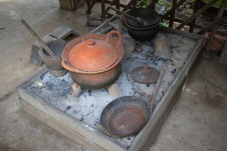 Kitchen Ancient style and kitchen equipment in old houses in Thailand