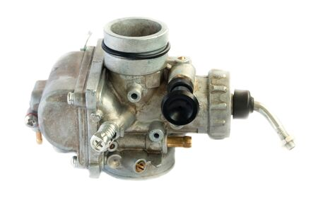 Carburettor for motorcycle part engine on white background