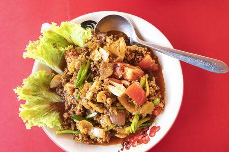 Spicy Minced Pork Salad on table Banco de Imagens
