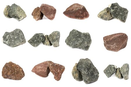 Basalt rock and granite stone and Sandstone For industrial plants isolate on white background Banco de Imagens