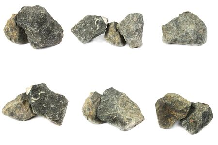 Basalt rock From industrial plants isolate on white background