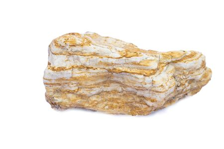 Shale stone or clastic sedimentary rock isolate on white background Banco de Imagens