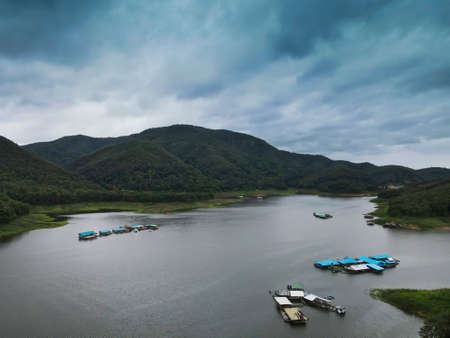 Beautiful view of Mae Ngad Dam, Comprised of mountains,River and sky Фото со стока