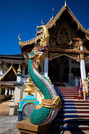 Beautiful sanctuary is staircase Naga of Thailand