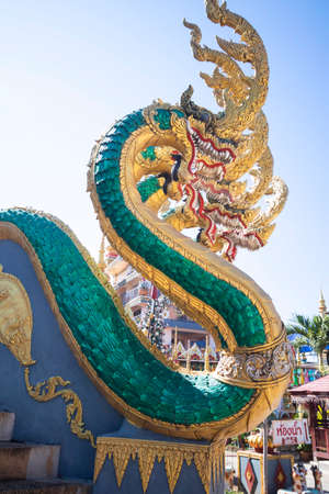 Beautiful Naga image In old temple of Thailand