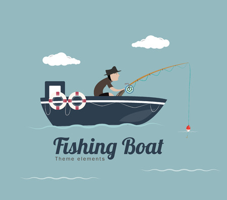 hombre pescando: barco de pesca