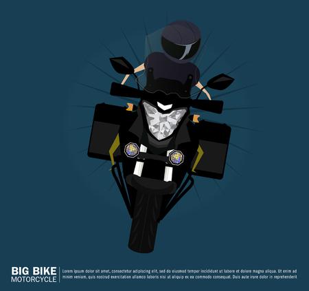 touring: Vector illustration of biker rides a bike Illustration