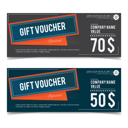 green banner: gift voucher template Illustration