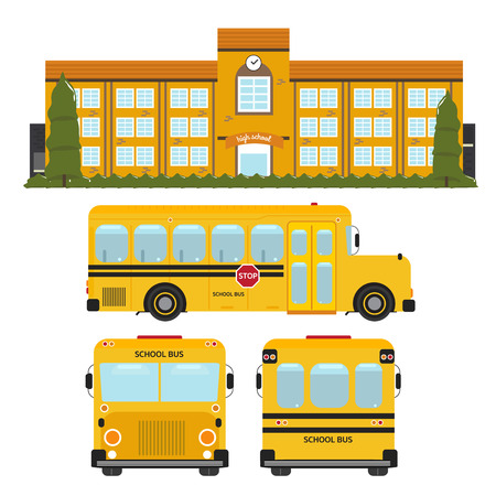School Building and School bus Reklamní fotografie - 43647844