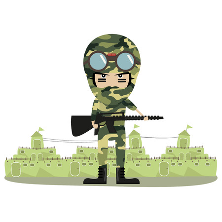 Soldier in camouflage uniform in the city