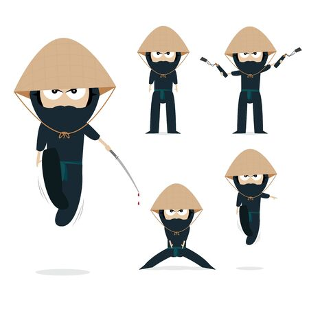 vector set of ninja Illustration