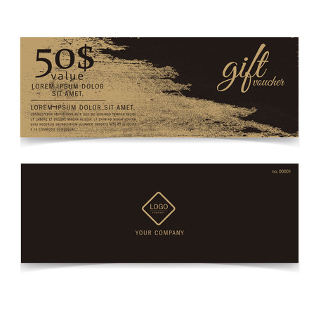 Gift voucher gold template or golden card Illustration