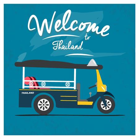tire cover: Vintage motor-tricycle Tuk Tuk,Thailand design background. Illustration