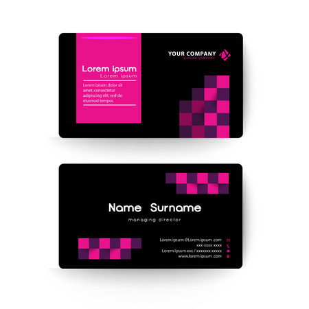 pink and black: Modern business card template, Black and Pink color.