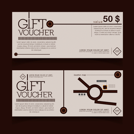 Gift voucher template with modern pattern, chocolate Imagens - 44718916