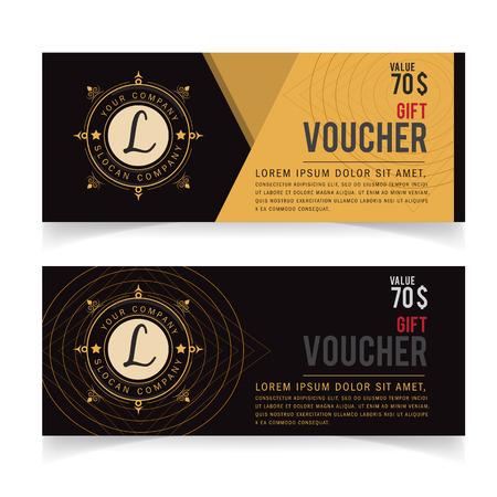 vouchers: Gift Voucher template with premium vintage pattern, Vector illustration, certificate coupon design