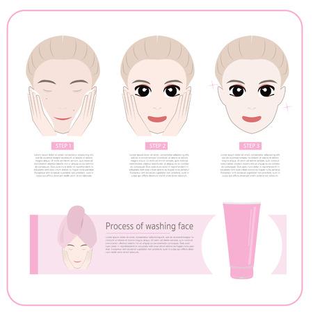 hair mask: Cute woman applying moisturizer .vector illustration
