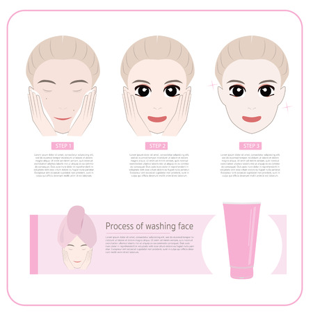 Cute woman applying moisturizer .vector illustration