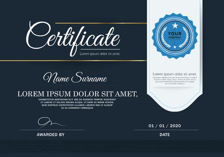 certificate design: Dark blue Certificate, Vector certificate template.