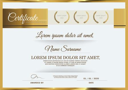 Vector illustratie van goud gedetailleerde certificaat Stock Illustratie