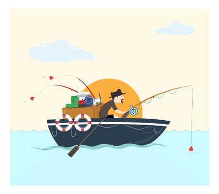 hombre pescando: Pesca en el barco, ilustraci�n vectorial.
