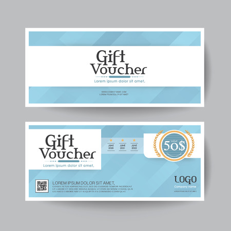 silver backgrounds: Gift voucher design vector template layout for business card gift set.blue