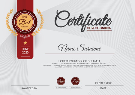 reconocimientos: Certificado de plantilla de diseño del marco logro