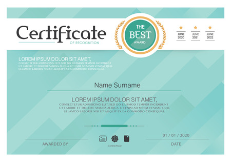 stock certificate: Blue Certificate, Vector certificate template,Modern style.