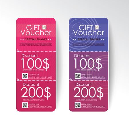 burgundy ribbon: Gift Voucher template with premium pattern. Big set