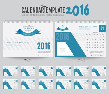 kalendarz: Biuro Kalendarz 2.016 Wektor szablonu projektu. Duży zestaw 12 miesięcy. Tydzień zaczyna się w niedzielę