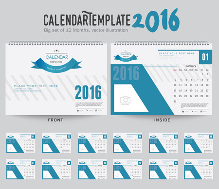 business desk: Desk Calendar 2016 Vector Design Template. Big set of 12 Months. Week Starts Sunday